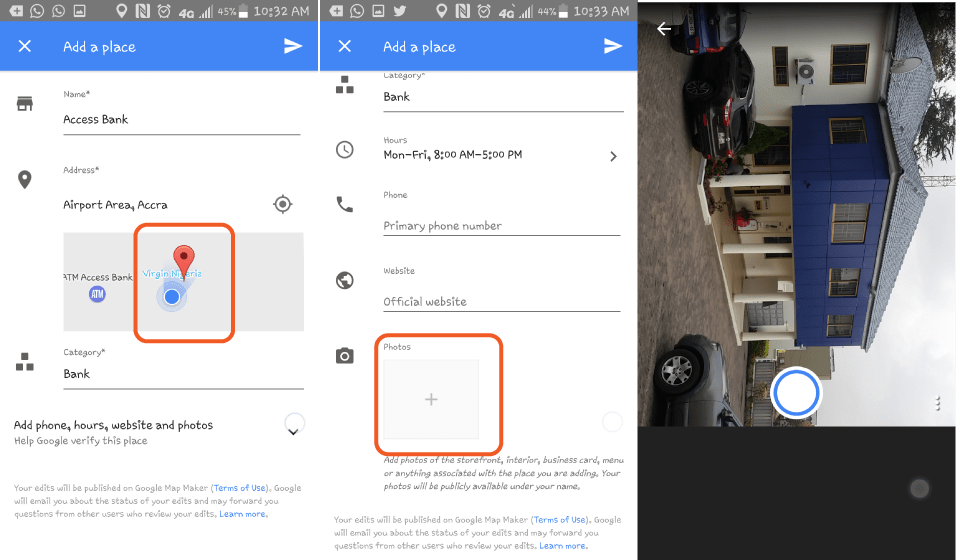 Fill all details including category and the hours open. To get the place you are adding verified, it is always best to add a photo, which you can capture straight from Google Maps or by selecting a photo from your gallery.