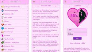 Screenshots of the Valentines Day Special App containing Valentine Messages