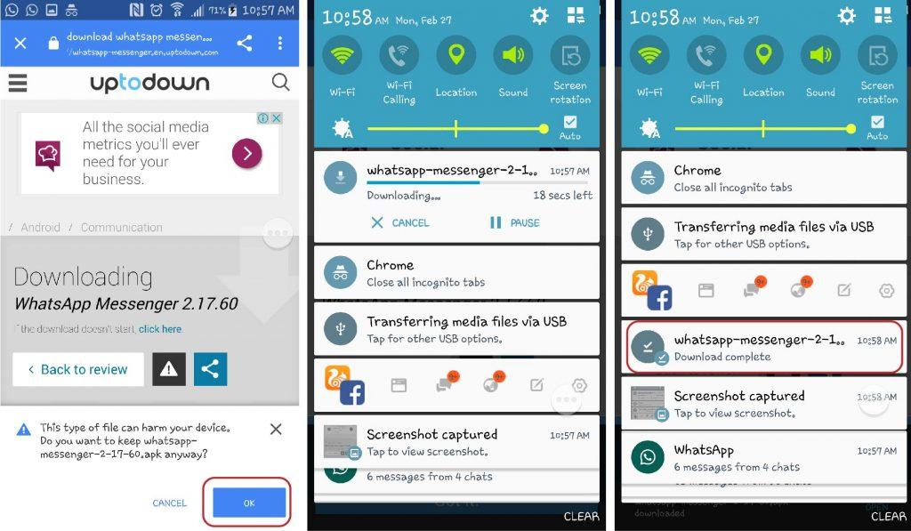 5.Open your smartphone browser and go to this link. It leads to WhatsApp version 2.17.60. Download V2.17.60 APK file.