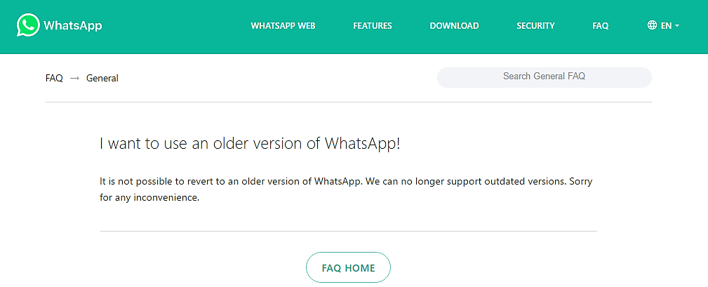 WhatsApp does not want you to downgrade your app
