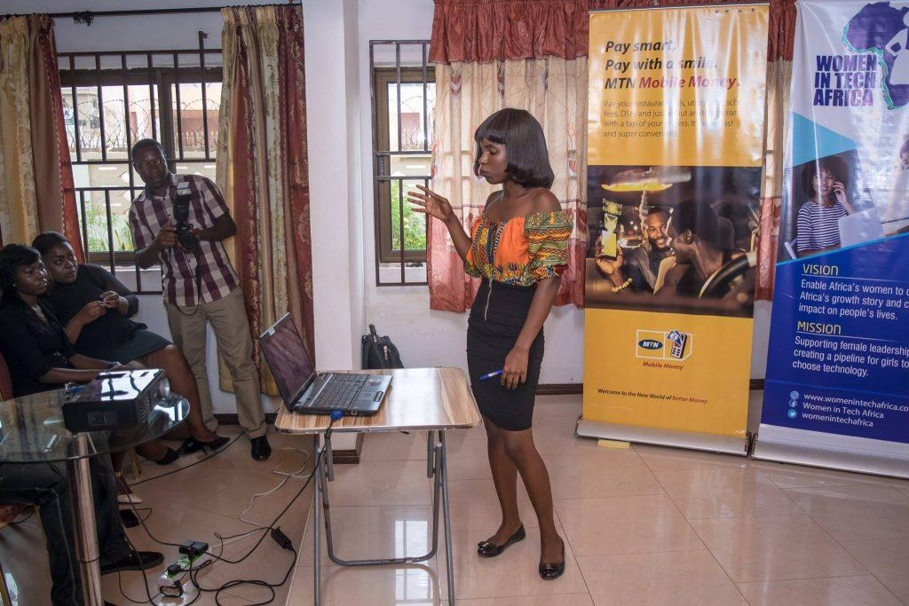Vanessa Otchere pitching her TicketEx App. She was the most improved participant in the #GirlCode Accra and she won second place!