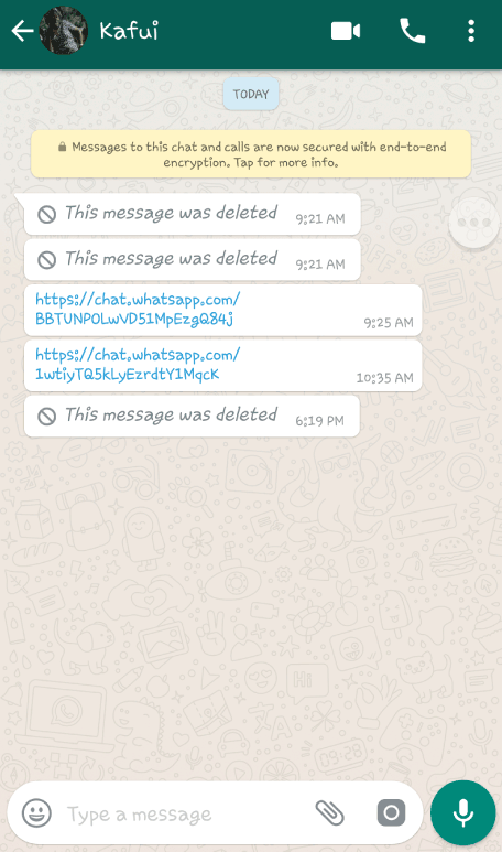 "A demonstration of the WhatsApp ""Delete for Everyone"" feature"