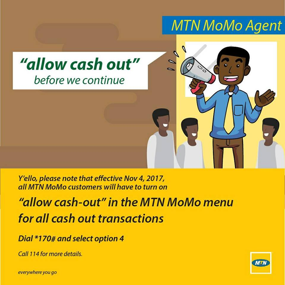 mtn ghana introducing quotallow cash outquot feature again to