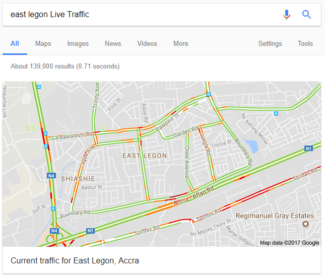 Finally! Google Maps Now Shows Live Traffic for Ghana