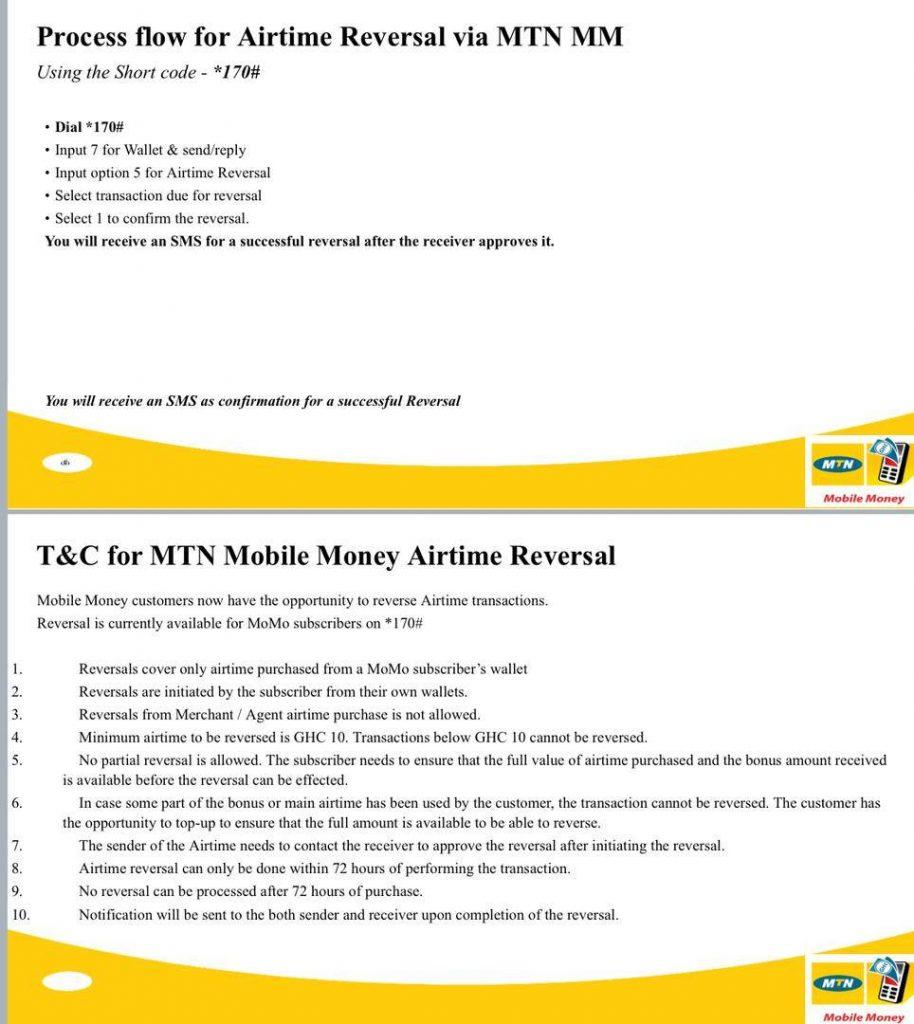 The MTN Mobile money reversal allows you to convert airtime wrongly sent back into cash.
